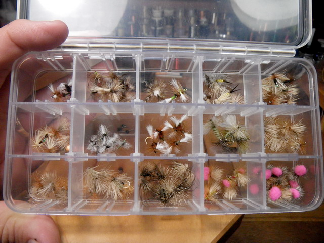 These fly boxes are good value and hold a lot of the same size and types together. The only downside to putting dry flies in this type of box is the risk of spilling it—or worse yet, the wind blowing them all over the water.